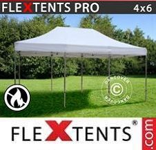 Vouwtent FleXtents PRO 4x6m Wit, inkl. 8 decoratieve gordijnen